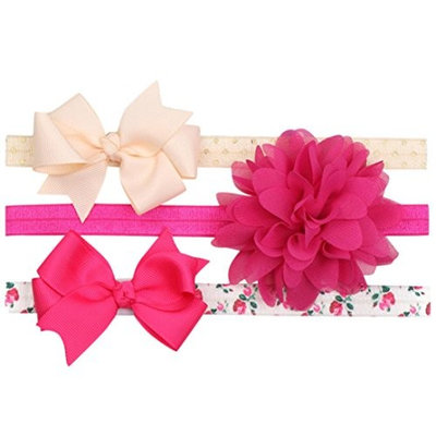 Dinlong 3 Pack Newborn Baby Girl Headband Floral Elastic Cotton Bowknot Knotted Hair Band Accessories (7.87-12.99 inches/20-33 cm, E)