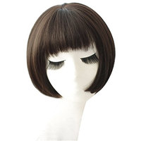 BESTLEE Women Girls Synthetic Hair Short Bob Wig with Uneven Bangs Brownish Black