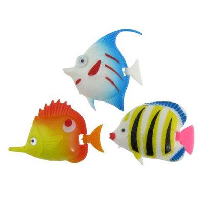 Aquarium Decorative Flexible Tail Colorful Plastic Fish 3 Pcs