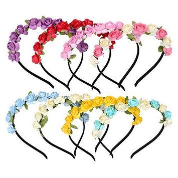 Maxdot 8 Pieces Flower Crown Headband Rose Wedding Garland Bridal Floral Wreath Hairband for Women Girl Hair Decoration, 8 Colors