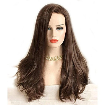 Dlme Dark Brown Lace Front Wig Natural Long Wavy Glueless Synthetic High Temperature Heat Resistant Fiber Hair Women Wigs