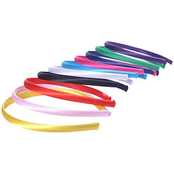 Set of 10 Satin Covered Alice Band Head Hairbands Plain Daywear Multi-colours