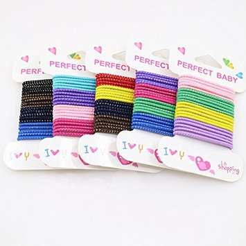 100 Pieces 2mm Baby Kids Glitter Colorful Elastic Ponytail Holder Hair Ties