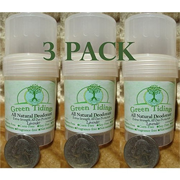 Green Tidings All Natural Deodorant *Extra Strength, All Day Protection* Lavender 1oz (3 PACK-