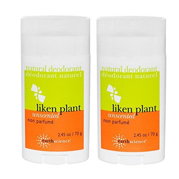 Earth Science Liken Plant Unscented Deodorant (Pack of 2) With Sage Leaf Extract and Lichen Extract, 2.45 oz. Each