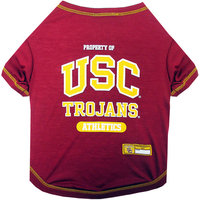 Pets First Collegiate Mississippi USC Trojans Pet Tee Shirt - Available in 5 sizes. X-Large, Large, Medium, Small, X-Small