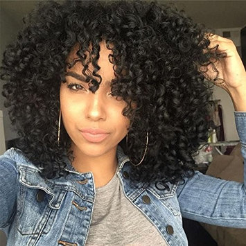 Top Hair Synthetic Afro Curly Hair Wig For Black Women Short Kinky Hair Jerry Curly Resistance Fiber Natural Black 1b Synthetic Wig