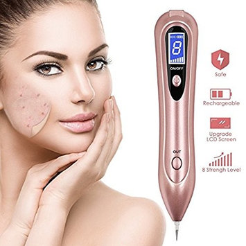 Mole Removal Pen, BraSkin Portable USB Rechargeable Skin Tag Removal Tool Kit Professional Beauty Pen with 9 Strength Levels for Body Facial Freckle Nevus Warts Age Spot Tattoo-2018 Upgraded