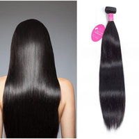 JUST SHOW Straight Bundles Weave Unprocessed Beautifull Quality Natural Black Full Head Tanglefree Mix Size Virgin Remy Human Hair Extension (10