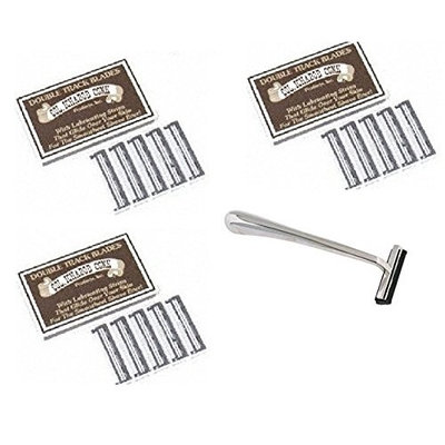 Trac II Chrome Handle + Colonel Ichabod Conk Track II Razor Blades 10 ct. (Pack of 3) + FREE Curad Dazzle Bandages 25 Ct