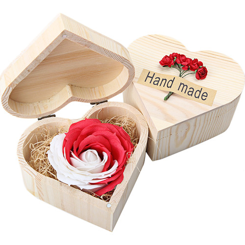 Hand Make Soap,Outgeek Creative Rose Shape Soap with Heart Wooden Box Special Gift for Friend Lover Girlfriend Birthday Valentine's Day
