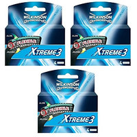 Wilkinson Sword Xtreme3, 4 Count Refill Blades (Same As Schick Xtreme 3 Catridges) Pack of 3 + FREE Luxury Luffa Loofah Bath Sponge On A Rope, Color May Vary