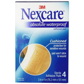 3 Pack - Nexcare Waterproof Adhesive Gauze Pad 3 Inches x 4 Inches, 4 Each