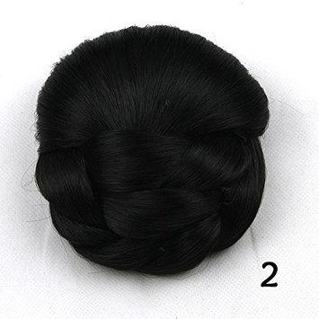 Women Heat Resistant Synthetic Fiber Chignon Hair Bun Clip in Hair Extensions