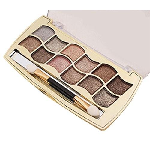 Quartly 12 Color Diamond Shimmer Glitter Eye Shadow Palette Matte Powder Eyeshadow Makeup Cosmetic Brush Set