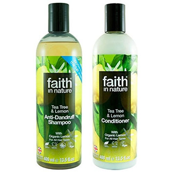 Faith In Nature Refreshing Lemon and Tea Tree Shampoo and Conditioner Duo 400ml for Normal to Dry Hair