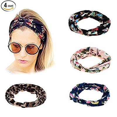 4 Pack Elastic Printed Turban Twisted Knotted Ethnic Headband Floral Wide Stretch Girls Hair Accessories