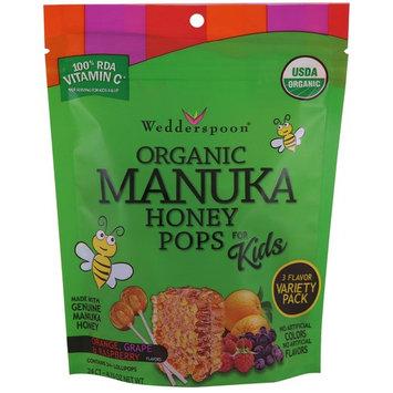 Wedderspoon, Organic Manuka Honey Pops For Kids, Orange, Grape & Raspberry, 24 Count, 4.15 oz [Flavor : Orange, Grape, Raspberry]