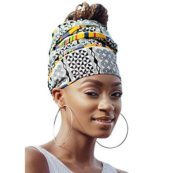 White & Yellow Royal African Headwrap