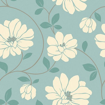 Blue Mountain Wallcoverings Blue Mountain Mega Flowers Wallcovering, Powder Blue/White