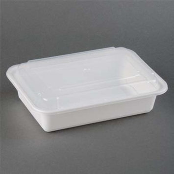 38 oz Microwaveable White Rectangular Container Lid Combo/Case of 150