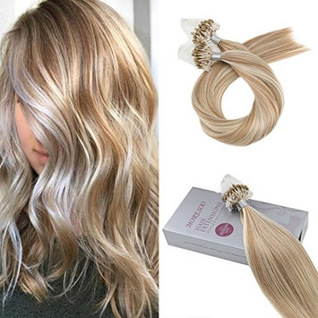Moresoo Hair Extensions Loop Human Hair 14 Inch 1 G/S Micro Ring Beads Tipped Hair Extensions Human Hair Ombre Color #6 Medium Brown Fading to #613