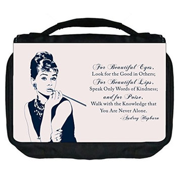 Audrey Hepburn Vintage Quote Design-Rosie Parker TM Small Travel Sized Hanging Cosmetic/Toiletry Case with 3 Compartments and Detachable Hanger-Made in the U.S.A.
