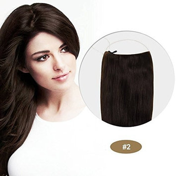 PARAHAIR 22 Inch Secret Halo Hair Extensions Headband Invisible Wire Extensions Full Head Synthetic Straight Hair 85g Dark Brown(#2)