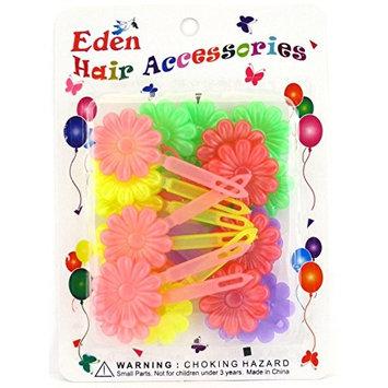 Eden Girls Self Hinge Pastel Flower Hair Barrettes - 18 Pcs.
