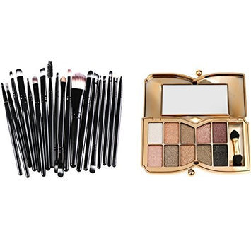 Homyl Set of 10 Colors Smokey Eyeshadow Palette Pigment Shimmer Cosmetic Metallic Eyeshadow Palette with 21PCS Makeup Blending Brushes Black