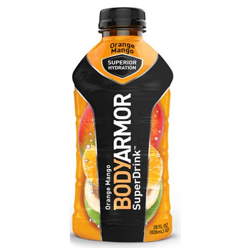 Body Armor Orange Mango Sports Drink 28 oz Plastic Bottles - Pack of 12