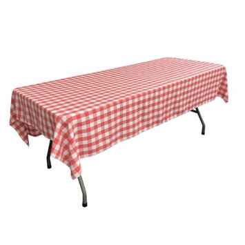 LA Linen TCcheck60x90-CoralK55 Polyester Gingham Checkered Rectangular Tablecloth White & Coral - 60 x 90 in.