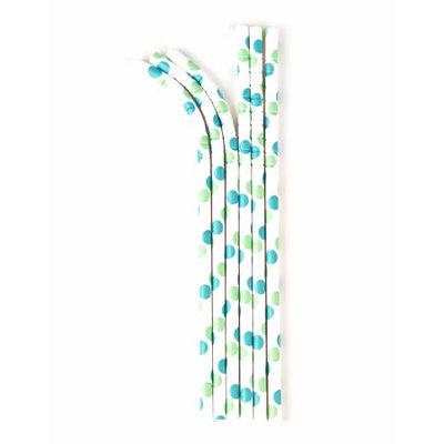 Aardvark Eco-flex Paper Drinking Straw, Aqua and Seafoam Dot, 24 Ct