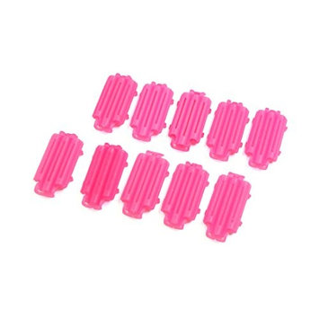 uxcell 10pcs Rose Red Plastic Mini Hair Curler Board Corn Curly Wave Hairstyle Maker