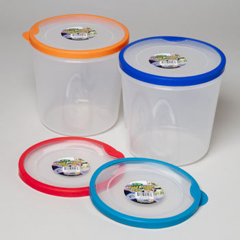Dollaritemdirect FOOD STORAGE CONTAINER ROUND W/ RUBBER EDGE ON RIM 96 OZ, Case Pack of 48