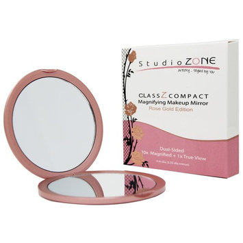 COMPACT MIRROR - 10X MAGNIFYING MakeUp Mirror - Perfect for Purses - Travel - 2-sided with 10X Magnifying Mirror and 1x Mirror - ClassZ Compact...