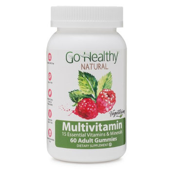Go Healthy Natural Fruit-Based Vegetarian Adult Multivitamin Gummy 15 Essential Vitamins (60)-30 Daily Servings