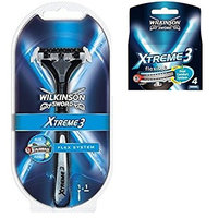 Wilkinson Sword Xtreme3 Razor Handle w/ 2 Refill Razor Blades + Wilkinson Sword Xtreme3, 4 Count Refill Blades + FREE Travel Toothbrush, Color May Vary