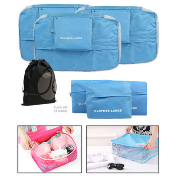 JAVOedge Blue 3 Piece Bundle Nylon Travel Packing / Home Storage Organizer Cubes (Small, Medium, Large)