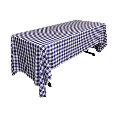 LA Linen TCcheck60x144-RoyalK50 Polyester Gingham Checkered Rectangular Tablecloth White & Royal Blue - 60 x 144 in.
