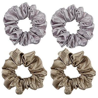 Satin Hair Scrunchies, Yogaily Set of 4 Shiny Ponytail Holder Bobble Hair Elastics Bands Vintage Scrunchy High-end for Women Girls