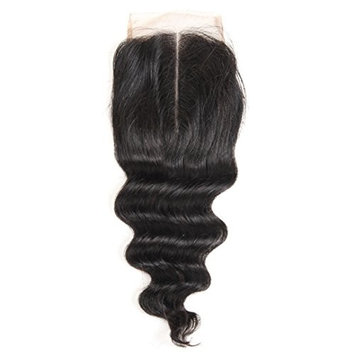 ALI GRACE Brazilian Virgin Loose Wave Closure 4x4 Remy Human Hair Swiss Lace Closure Natural Color Middle Part 16inch