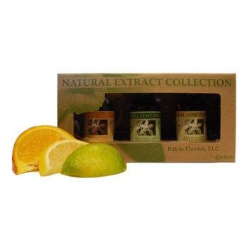 Bakto Flavors Natural Citrus Collection Gift Box, Lemon-Lime-Orange- 3-1OZ bottles