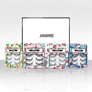 JIMIRE False Eyelashes Demi Lashes Multipack - Natural Wispies Dramatic Glam Eyelashes 4 Packs