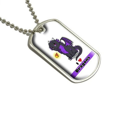 Dragon Baby I Love Heart Dragons Purple Military Dog Tag Luggage Keychain