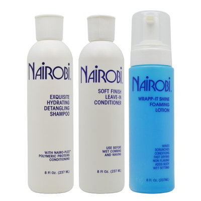 Nairobi Exquisite Hydrating Shampoo & Soft Leave-in Conditioner & Wrap it Shine 8oz 'Set' (Pack of 3)
