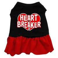 Mirage Pet Products 5805 SMBKRD Heart Breaker Dresses Black with Red Sm 10