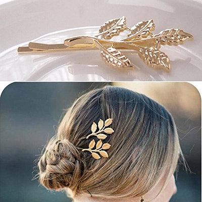 AOWA 10PCS Elegant Leaves Shaped Golden Metal Punk Hairpin Hair Pin Clips For Women Hair Accessories