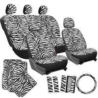 Istiloshoppe Car Accessories 21pc White Zebra Print SUV Seat Covers Set Floor Mats Wheel Belt Pad Head Rest