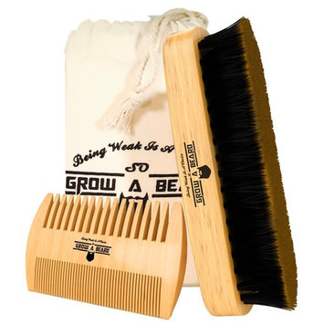 Beard Brush, Comb, Balm, Oil Grooming And Conditioner Beard Care For Men - Best Facial Hair Combo For Home And Travel - Ideal For Dry Or Wet And All Sizes & Beards Style